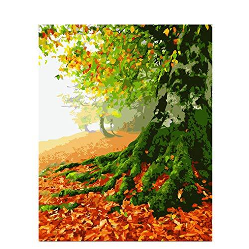 LovetheFamily 数字油絵 数字キット塗り絵 手塗り DIY絵 デジタル油絵 ホーム オフィス装飾 40x50cm 秋の大きな木の商品画像