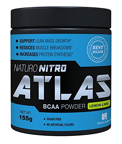 Naturo Nitro Atlas, BCAA Instantized Powder, Best Branched Chain Amino Acids, 28 Servings, 5.5g Per Serving, Lemon Lime Flavor
