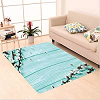 Nalahome Custom carpet Spring Cherry Blossom Petals Branch on Rustic Wooden Planks Seasonal Picture White Brown Seafoam area rugs for Living Dining Room Bedroom Hallway Office Carpet (4 X 6)