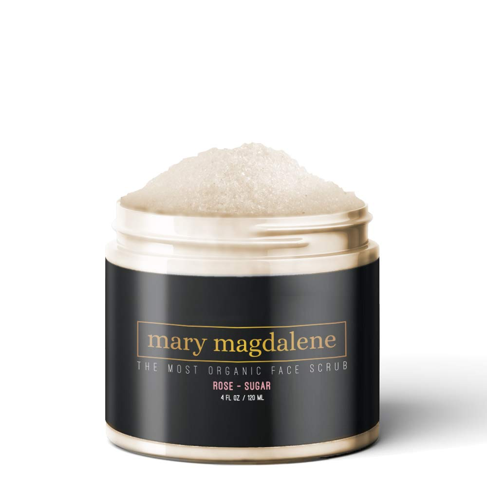 Mary Magdalene Rose & Sugar Organic Face Scrub Exfoliating Premium Natural Anti Aging Facial Scrub For Men & Women - 4 Fl oz