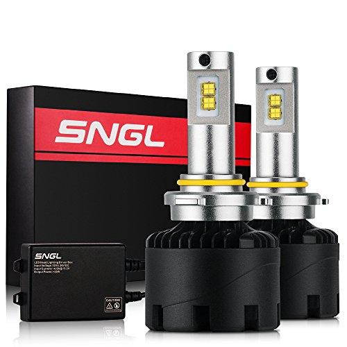 (SNGL Super Bright LED Headlight Conversion Kit - Adjustable-Beam Bulbs - 9006 (HB4) - 110w 12,400Lm - 6000K Bright White - 2 Yr Warranty - For Dodge Ram Jeep Chrysler GMC Silverado)