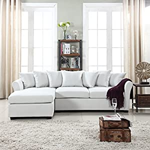 DIVANO ROMA FURNITURE Modern Large Linen Fabric Sectional Sofa, L-Shape Couch with Extra Wide Chaise Lounge