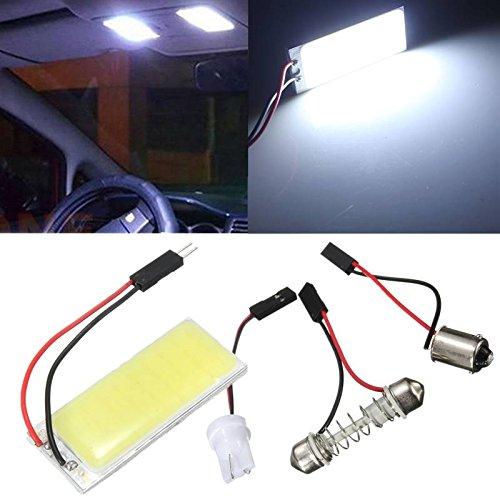 AUDEW Panneau T10 36 SMD COB LED Voiture Ampoule Lecture/Plafonnier Lampe Blanc Pur + T10/BA9S/Dome Festoon Adaptateurs