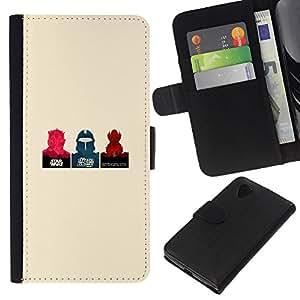 NEECELL GIFT forCITY // Billetera de cuero Caso Cubierta de protección Carcasa / Leather Wallet Case for LG Nexus 5 D820 D821 // Cartel minimalista Guerra de las Galaxias