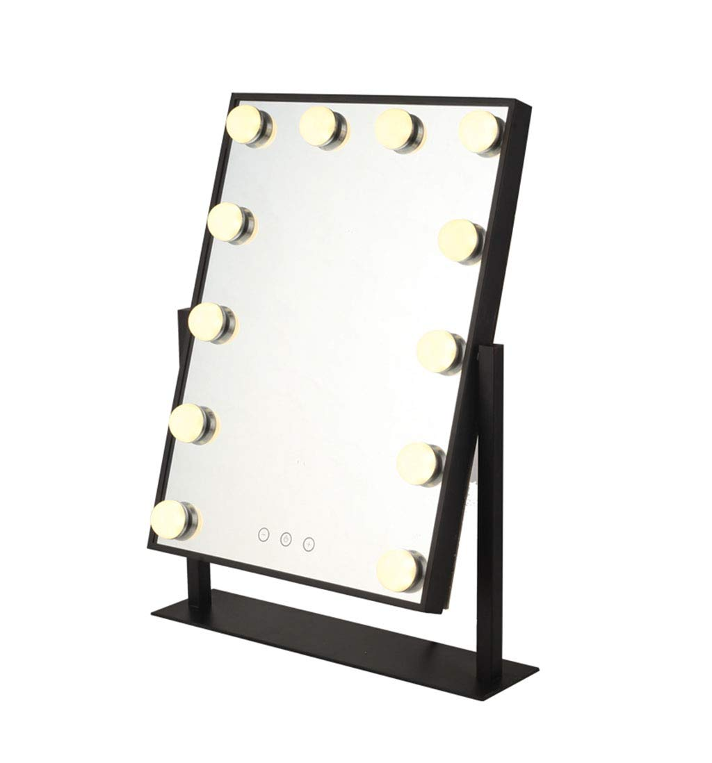 KTYXDE Vanity Mirror Cosmetic Dresser Lighting Kit with LED Bulbs Hollywood Style Makeup Mirror Dimmable Light Bulb Black Wall Mirror (Size : Small)
