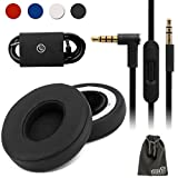 EEEKit Replacement Kit for Beats Solo2 Wired On-Ear Headphone,PU Leather Ear Pad Cushion Cap Memory Foam Cover,Audio Remote Cable Talk w/Mic(Black)