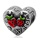 My Heart Charm 925 Sterling Silver Word Charm with Strawberry with Red Enamel Charms for Pandora Bracelet