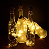Okapia 6 Sets Cork Light for Wine Bottle Solar Fairy Lights for Wedding Home Bedroom Party Jar Decoration Warm White