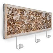 gbHome GH-6797 Decorative Wooden Key Rack With Engraved Art, Entryway Wall Mounted Hanging Wood Storage Keyrack Entrance Door Hanger Organizer Holder, Rustic Antique Distressed Design Hooks