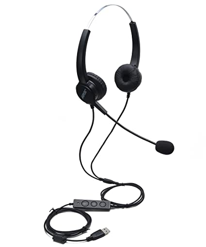 AGPtEK USB Stereo Binaural Headset Corded Call Center Headphone with  Noise-Canceling Mic and Volume Control - for Phone Sales, Telephone  Counseling