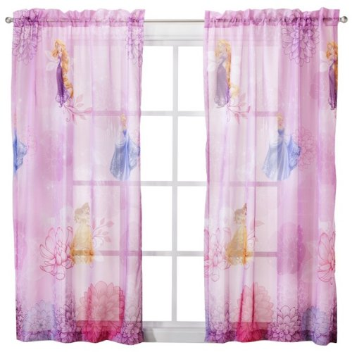 ((1)- Disney Princess Sheer Window Panel Drape -)