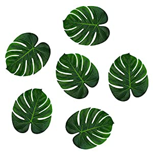 "Super Z Outlet Tropical Imitation Green Plant Paper Leaves 13"" Hawaiian Luau Party Jungle Beach Theme Decorations for Birthdays, Arts & Crafts, Prom, Events, Weddings (6 Pack) 35"