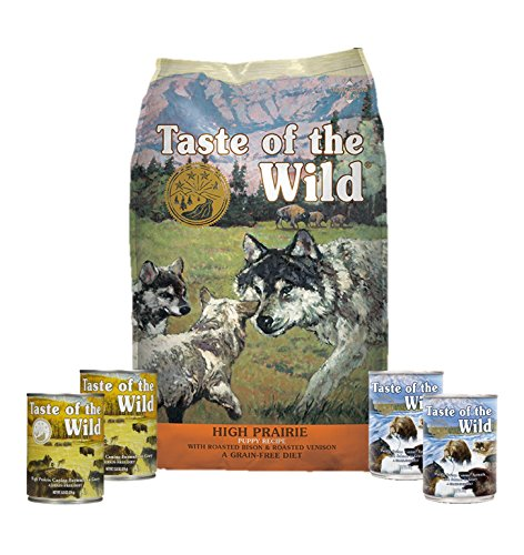 Taste Of The Wild Dog-Food High Prairie Puppy Food Grain Free 6 Pack 1 15lb Bag 4 Cans & 1 Lid