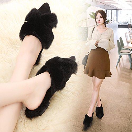 Fankou Autunno e Inverno Baotou, indossare una metà femmina pantofole elegante e versatile female ,35, nero scarpe di cotone
