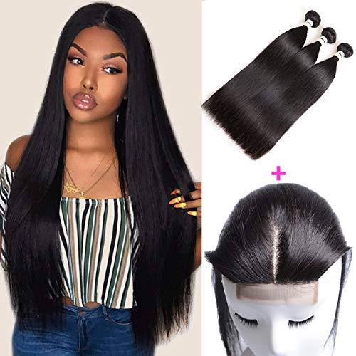 Mirthful Brazilian Virgin Straight Hair 3 Bundles With Closure 4