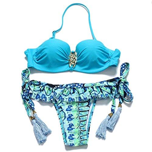 Moda traje de baño de impresión Lotus Leaf bikini Split spa traje de baño Beach Swimwear A
