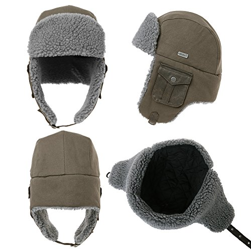 bdfbec5a920 SIGGI Cotton Trapper Hat Faux Fur Earflaps Hunting Hat Warm Pillow Lining  Unisex
