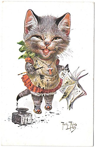 Postcard Arthur Thiele Dressed Kitten Playing With Ink Pen Paper~97969