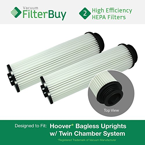 40140201 Replacement Filter Vacuum Hepa (2 - Hoover WindTunnel, EmPower, Savvy Washable Long-Life HEPA Filters, Part #'s 40140201, 43611042 & 42611049. Designed by FilterBuy to fit ALL Hoover Upright Vacuum Cleaners)