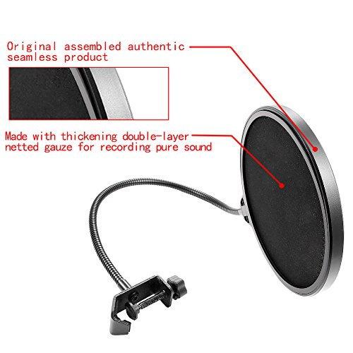 Neewer NW(B-3) 6 inch Studio Microphone Mic Round Shape Wind Pop Filter Mask Shield with Stand Clip (Black Filter) - Image 3