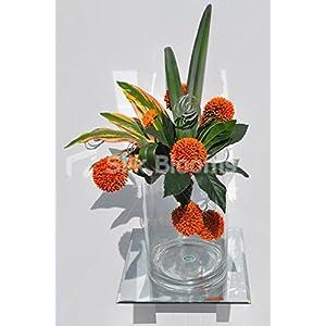 Modern Artificial Orange Allium Cylindrical Vase Floral Table Arrangement 8