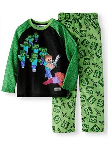 Minecraft Steve Battling Zombies Fleece 2 Piece Pajama Sleep Set (Medium -