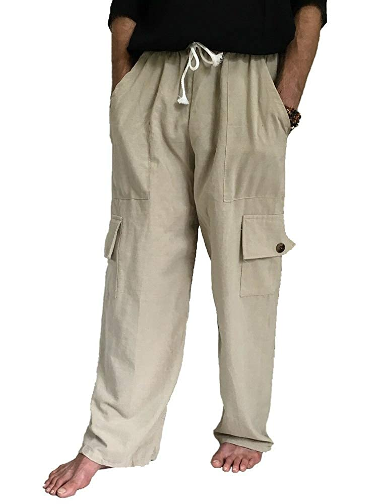Karlywindow Mens Loose Fit Cargo Pants Ankle Length Elastics Waisted Workout Pant with Pockets