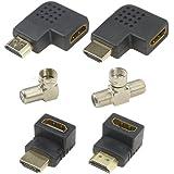 WGCD 2 PCS Right Angle Coaxial Adapter F-Type Male to 2 Female Coaxial Adapter + 2 PCS HDMI Right Left Angle Adapter 90 and 270 Degree Saver Adapter +2 PCS HDMI 90 Degree and 270 Degree Male to Female