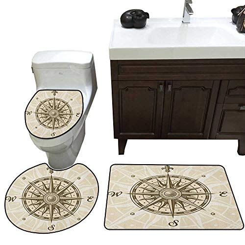 Moeeze-Home Compass Bathroom 3-Piece Mat Sets Sun Motif Backdrop with Windrose Directions East West North South Navigation Contour Mat Lid Cover Non-Slip with Rubber Backing Olive Green Beige -