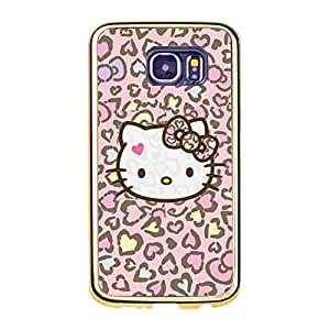 Cute Exquisite Hello Kitty Phone Case,Hello Kitty Cartoon Pattern Premium Gold Frame Samsung Galaxy S6 Phone Cover Case