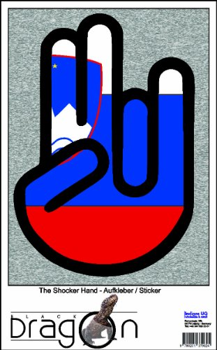 The Shocker Hand Decal Sticker Phone skin 70x50 mm black Outline with Flag Slovenia-Slowenien ()