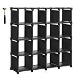 SONGMICS 16 Cube Shoe, DIY Modular Storage Shelves Bookshelf Toy Rack, Display Cabinet Closet Organizer Unit, Includes Rubber Mallet, Black, ULSN56BK