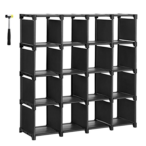 SONGMICS 16 Cube Shoe Rack, DIY Modular Storage Shelves Bookshelf Toy Rack, Display Cabinet Closet Organizer Unit, Includes Rubber Mallet, Black, (Heavy Duty Base Utility Cabinet)