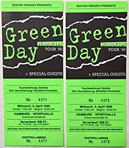 Green Day Ticket Set of TWO (2) UNUSED Insomniac Tour Hamburg, Germany 1996