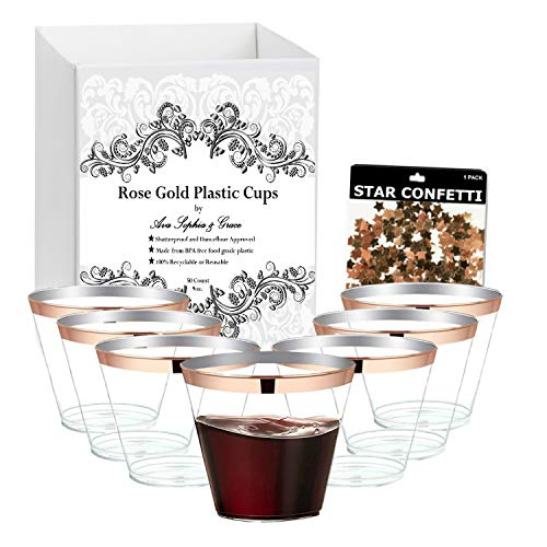 Rose Gold Rim Plastic Cups 9 oz. [100 Pack]. Elegant Tumblers For Your Wedding, Baby or Bridal Shower, Birthday or any other Special Occasion. Includes Bonus Foil Confetti. ()