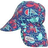 Flap Happy Boys' UPF 50+ Swim Hat, Summer Seashore, Medium