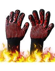 Tomshin Luvas de churrasco com listras antiderrapantes de silicone Luvas de forno à prova de calor 500 ~ 800 ℃ Luvas de churrasqueira resistentes ao calor para churrasqueiras ao ar livre, churrasqueiras, churrasqueiras, cozinhas, soldagem