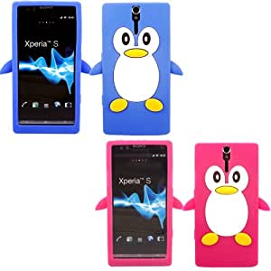 2 Pack Penguin Silicona Caso Cubrir Concha Para Sony Xperia S / Blue And Hot Pink
