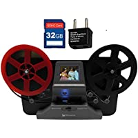 Wolverine 8 mm & Super 8 Reels Movie Digitizer w/2.4 LCD (Film2Digital MovieMaker) Includes 32GB SD Memory Card & Worldwide 100-240V AC Adapter & International Two-Prong Round Pin Plug Adapter