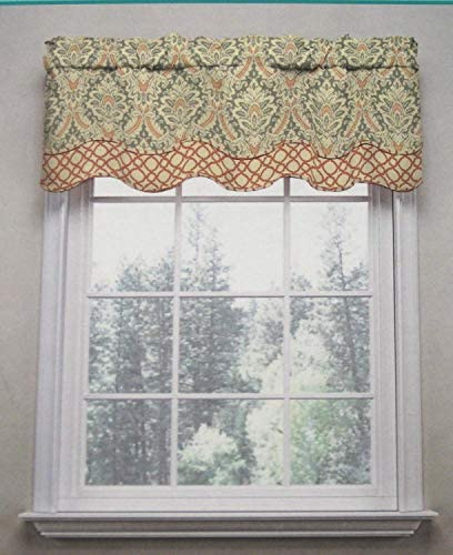 WAVERLY Traditions By Classic Damask Donnington Valance 52 w X 16 L Clay Multi Color