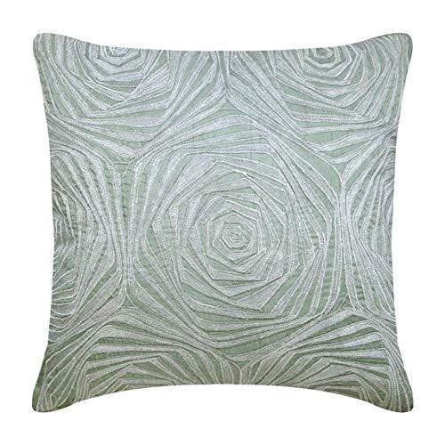 The HomeCentric Handmade Light Blue Pillow Cases, Zardozi Rose Pattern French Theme Pillows Cover, 16