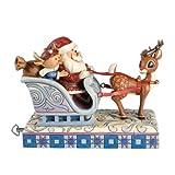 Rudolph Jim Shore Christmas from Enesco Rudolph & Santa & Elf/Sleigh Musical 6 IN