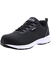 LARNMERN Mens Steel Toe Safety Shoes,LM-30 Flyknit Breathable Lightweight Reflective Work Shoes Slip Resistant