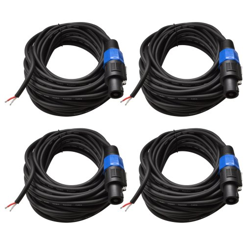 Seismic Audio - SPRW50 (4 Pack) - 50 Foot Raw Wire to Speakon Speaker Cable - 16 Guage - PA/DJ/Home Audio by Seismic Audio