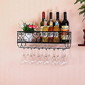 HYNEWHOME Metal Wall Mounted Wine Rack With Glass Holder Gift Bottles Opener Accessories Home Decor For Living Room Or Kitchen,Black (Hold 12 bottles)