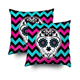 EMMTEEY Home Decor Throw Pillowcase Sofa Cushion Cover,sugar skull on chevron stripes pattern Decorative Square Accent Zippered Double Sided Printing Pillow Case Covers 20X20Inch,Set of 2