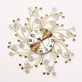 RFVBNM Classic european style minimalist wall chart mute silver flower crystal drill irrepressible modern living room bedroom creative iron wall clock 5959cm5959cm