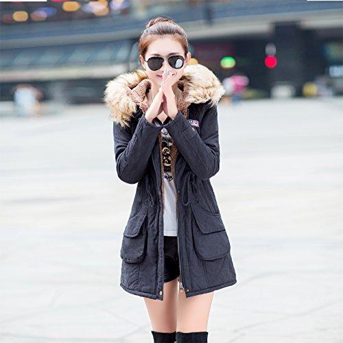 Aro Lora Women's Winter Warm Faux Fur Hooded Cotton-padded Coat Parka Long Jacket US 14 Black by Aro Lora (Image #1)