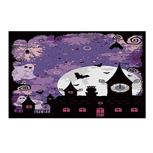 YOLIYANA Vintage Halloween Durable Door Mat,Halloween Midnight Image with Bleak Background Ghosts Towers and Bats Decorative for Home Office,15.7