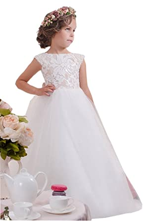 f87f5615b HF Flower Girl Dresses Lace Pearls Off Shoulder Tulle Pageant Dresses 12